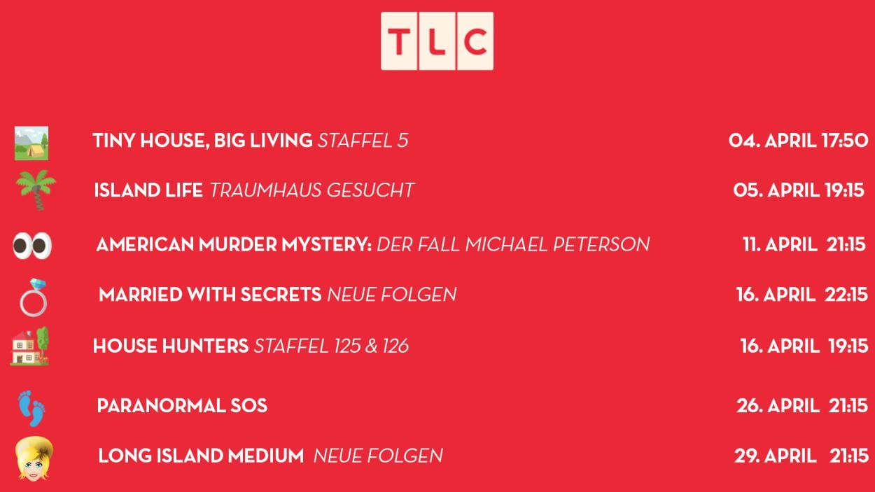 Willkommen bei den TLC-Neustarts im April 2019!