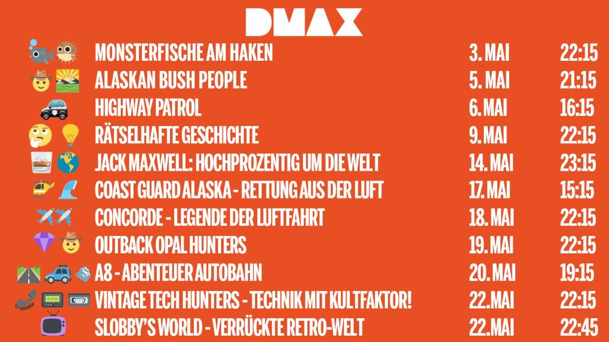 DAS SIND DIE DMAX-NEUSTARTS IM MAI 2019!
